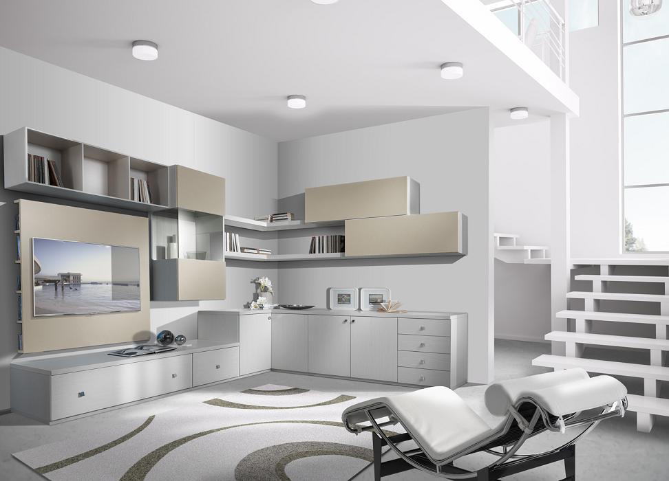 Soggiorno con camino ad angolo idee per il design della casa - Mobili soggiorno angolari ...